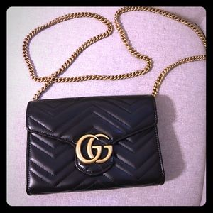 Gucci Black Marmont Wallet on Chain